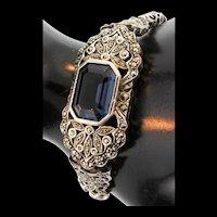 Exquisite Fine ART DECO Sterling Silver 925 Marcasite Sapphire Glass BRACELET