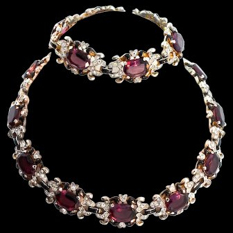 Vintage 1940s Philippe TRIFARI Empress Eugenie Amethyst Necklace Bracelet Combo SET
