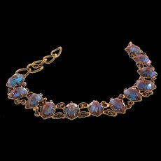 RARE Antique Victorian Edwardian Faceted Saphiret Glass Bracelet
