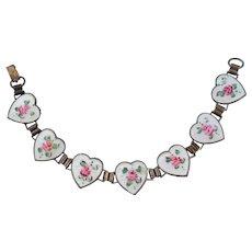 Vintage Art Deco Sterling Guilloche Enamel Roses HEART Book Chain Bracelet