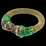 Vintage India Guilloche Enameled Tiger Brass Mesh Rhinestone Pin Closure BRACELET