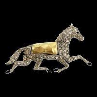 Vintage Philippe TRIFARI Pearl Belly HORSE Rhinestone Enamel Pin Brooch