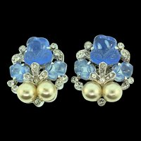 Vintage 1940s TRIFARI Philippe Fragonard Fruit Salad Fx Pearl Rhinestone Clip EARRINGS