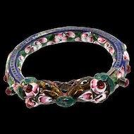 Antique Late 1800's India Meena Enamel Rajasthan Double Headed Elephant Screw Pin BRACELET