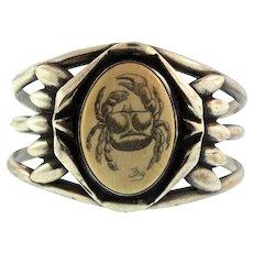 Vintage Native American Sterling Silver Crab Scrimshaw Signed Fry Cuff BRACELET