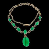 Vintage Art Deco Sterling Silver Vermeil Seed Pearl Chrysoprase Flowerette Necklace