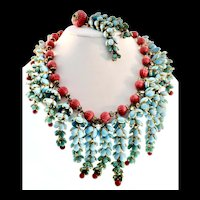 HOLIDAY SPECIAL! RARE Early 1930s CHANEL Gripoix Drippy Poured Glass Pate de Verre Fringe Necklace