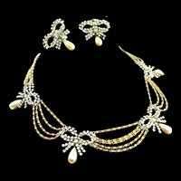 Vintage 1958 Henkel & Grosse CHRISTIAN DIOR Swag Gold Chain Rhinestone Bow Necklace Earrings Set