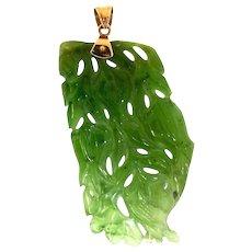 "Vintage CHINESE 14K Yellow Gold Carved Pierced Green Jadeite Jade Pendant 2"" 7.6g"