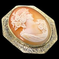 Antique Edwardian 14K Yellow Gold Floral Engraved CAMEO Pendant Brooch Pin16.8g