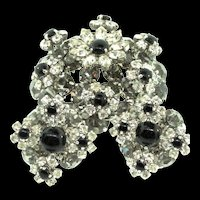 Vintage 1966 CHRISTIAN DIOR Germany Crystal Rhinestone Three Dimensional FLOWER Pin Earrings Set