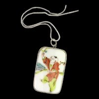 Vintage Japanese Sterling Silver 925 Hand-Painted Porcelain Pendant Chain Necklace