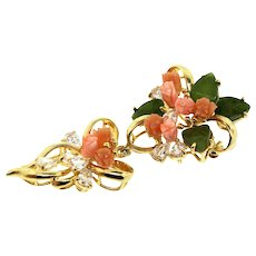 Vintage Signed CZ Cubic Zirconia Carved Coral Jade Rose Articulated Brooch Pin