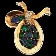Vintage TRIFARI Sapphire Emerald Rhinestone SYMPHONY Bow Ribbon Pin Brooch