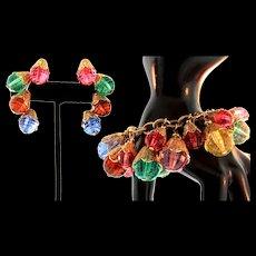 Vintage NAPIER Lucite Filigree Orb Charm Bracelet & RARE Ear Climber Clip Earrings