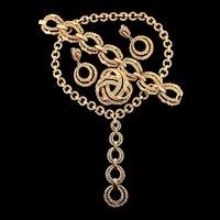 Vintage TRIFARI Modernist Textured Necklace Bracelet Earrings Pin PARURE Set
