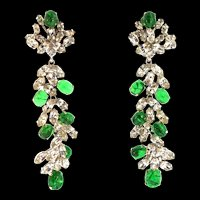 Rare 1969 CHRISTIAN DIOR Germany Flawed Emerald Cabochon Long Dangle Earrings