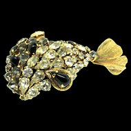 Vintage Rare 1968 CHRISTIAN DIOR Germany FISH Figural Rhinestone Gold Plated Brooch Pin