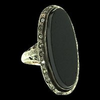 Vintage ART DECO Onyx Paste Sterling Silver RING Size 5