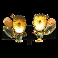 Vintage Juliana Delizza and Elster D&E Pillowcase Art Glass Rhinestone EARRINGS
