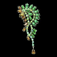 Vintage 1958 Henkel & Grosse CHRISTIAN DIOR Rhinestone Dangle Brooch Pin