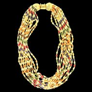 Vintage GAY BOYER Multi Strand Fx Pearl Colorful Glass Bead Torsade NECKLACE