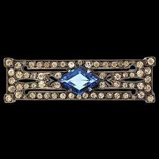 Vintage Hallmarked Sterling FRENCH Art Deco Sapphire Paste Rhinestone Milgrain Pin