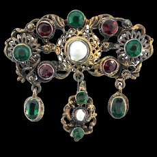 Antique Austro Hungarian Victorian Blister Pearl Gilded Silver Dangle Brooch Pin Pendant