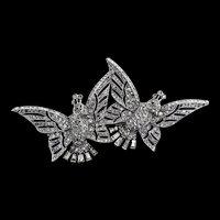 Vintage 1941 Philippe TRIFARI Art Deco Pave Rhinestone Fluttering Birds CLIPMATE Duette Brooch Pin