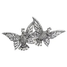 Vintage 1941 Philippe TRIFARI Art Deco Pave Rhinestone Fluttering Birds CLIPMATE Duette Brooch Pin
