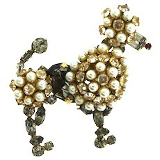 Vintage Signed SCHREINER NY Inverted Rhinestone Fx Pearl POODLE Figural Brooch Pin