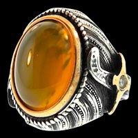 Vintage Mens Turkish Sterling Silver Topaz Sword Shank Ring Hand-made Size 10.5