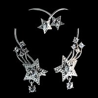 Vintage BOUCHER Style Shooting Star Rhinestone Rhodium Ear Rites Wraps EARRINGS
