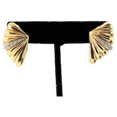 Vintage Seashell Fan 14K Yellow Gold & Diamond Pierced Earrings 2.8 grams