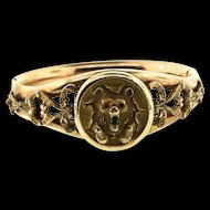 Antique Victorian Bates & Bacon LOCKET Bear Gold Filled Hinged Bangle BRACELET
