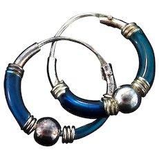 Vintage Sterling Silver Enamel Mini Hoop Pierced EARRINGS