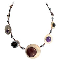 Vintage Modernist Amethyst Carnelian Hematite Onyx Sterling 925 Bubble Disc NECKLACE