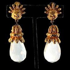 Vintage 1960s KENNETH JAY LANE KJL Chunky Faceted Crystal Prism Dangle EARRINGS
