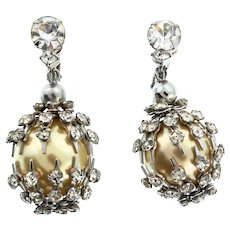 Vintage Rhinestone Caged Large Golden Fx Pearl Globe Dangle EARRINGS