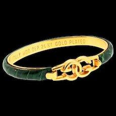 Vintage GUCCI Italy 24K GP Green Snakeskin Classic Logo Bangle Bracelet~ Minty