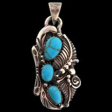 Vintage Native American Navajo Turquoise Sterling Feather Raindrop Pendant Necklace