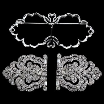 Vintage 935 Sterling FRENCH Art Deco Paste Rhinestone Duette Duet Fur Pin Clips