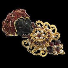 Vintage SWOBODA Blackamoor Figural Enamel Coral Amethyst Pearl Brooch Pin