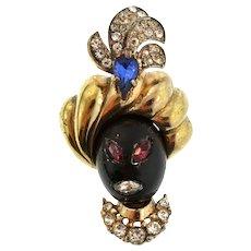 Vintage CORO CRAFT Sterling Rhinestone Blackamoor Sultan Genie Figural Fur Pin Clip