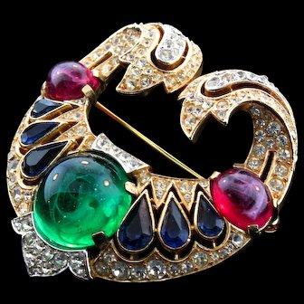 Vintage Philippe TRIFARI Jewels of India Cabochon Rhinestone Pin Brooch