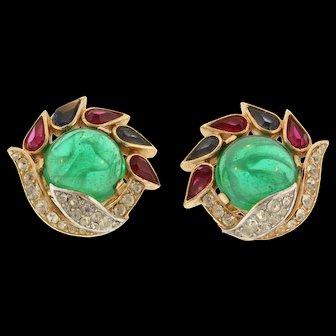 Vintage Philippe TRIFARI Jewels of India Cabochon Rhinestone Clip EARRINGS
