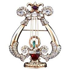 Vintage CORO Sterling Vermeil Rhinestone LYRE Harp Figural Brooch Pin Book Piece