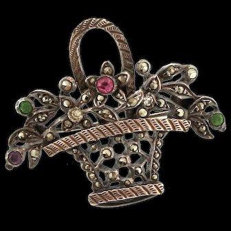 Antique VICTORIAN Sterling Silver Paste Marcasite Flower Basket Figural Pin