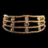 1970s KENNETH JAY LANE KJL Rhinestone Golden Byzantine Web Cage Choker Necklace