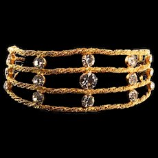 1970s KENNETH JAY LANE KJL Rhinestone Golden Byzantine Web Cage Choker Necklace